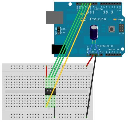 Zapojení Arduina UNO a Attiny85 pro programování